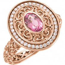 14k Rose Gold Stuller Pink Tourmaline and Diamond Fashion Ring - 71615-105-P
