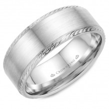 CrownRing 14k White Gold Rope 8mm Wedding band - WB-011R8W