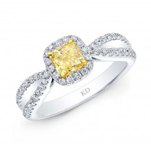 Kattan 18k White Gold La Vie en Yellow Diamond Halo Engagement Ring - D1862