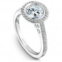 Noam Carver 14k White Gold Halo Diamond Engagement Ring - B016-01WM