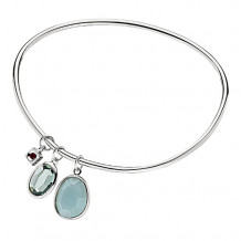 Elle Green Stones Bezel Slip On Bangle - B0135