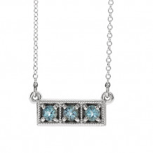 Stuller 14k White Aquamarine Three-Stone Granulated Bar Necklace - 86612-605-P