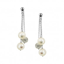 Honora Sterling Silver White Round Ringed Freshwater Cultured Pearl Crystal Bead Drop Earrings - LE5672WH