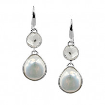 Honora Sterling Silver White Baroque Coin Freshwater Cultured Pearl Rock Crystal Dangle Earrings - LE5695WH