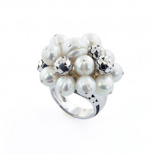 Honora Sterling Silver White Round Ringed Freshwater Cultured Pearl Cluster Ring - LR5660WH7