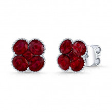 Kattan 18k White Gold High Quality Color Stud Earrings - LEF061084