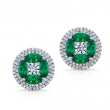 Kattan 18k White Gold High Quality Color Stud Earrings - LEF042605