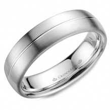 CrownRing 14k White Gold Carved 6mm Wedding Band - WB-037C6W