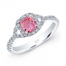 Kattan 18k White Gold La Vie en Rose Diamond Halo Engagement Ring - LRDA5696P85