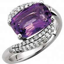 14k White Gold Stuller Amethyst and Diamond Fashion Ring - 67005-100000-P