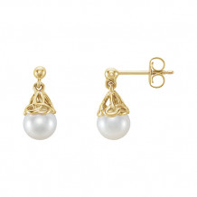 Stuller 14k Yellow Gold Pearl Earrings - 652295-60000-P