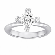 Diadori 18k White Gold Flower Diamond Engagement Ring - DFWR0006-RD1.0W