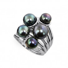 Honora Sterling Silver Black Button Freshwater Cultured Pearl Ring - LR5697BL7