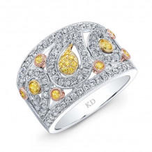 Kattan 18k White Gold La Vie en Yellow Diamond Ring - LRFA5518YD