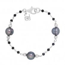 Honora Sterling Silver Fresh Water Cultured Pearl & Onyx Bracelet - SB0782SPC725