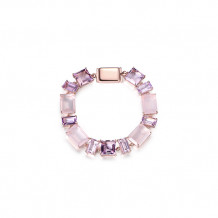 Elle Sterling Silver & 18k White Gold Amethyst and Rose Quartz Bracelet - PB001