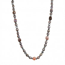 Honora Sterling Silver Fresh Water Cultured Pearl Hematite Botswana Agate Necklace - SN0691SBL36