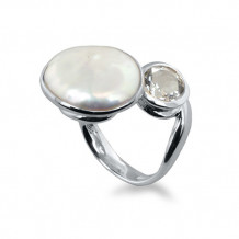 Honora Sterling Silver White Baroque Coin Freshwater Cultured Pearl Topaz Ring - LR5695WH7