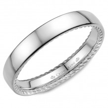 CrownRing 14k White Gold Rope 3.5mm Wedding band - WB-012R35W