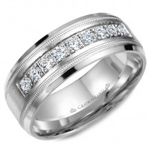 CrownRing 14k White Gold Diamond 8mm Wedding band - WB-9083