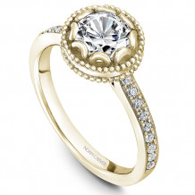 Noam Carver 14k Yellow Gold Floral Diamond Engagement Ring - R002-01YM