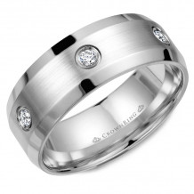 CrownRing 14k White Gold Diamond 8mm Wedding band - WB-9616