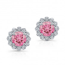 Kattan 18k White Gold La Vie en Rose Stud Earrings - TEA078P25