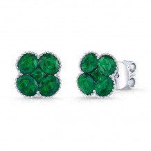 Kattan 18k White Gold High Quality Color Stud Earrings - LEF061085