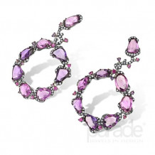 Parade Design 18k White Gold Pink Sapphire and Diamond Earrings - E3453A