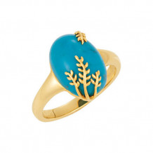 14k Yellow Gold Stuller Chinese Turquoise Leaf Ring - 69621-654-P