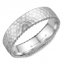 CrownRing 14k White Gold Rope 6mm Wedding band - WB-004R6W