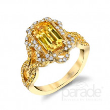 Parade Design 18k Yellow Gold Yellow Sapphire and Diamond Ring - R3663
