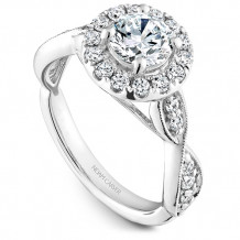 Noam Carver 14k White Gold Floral Diamond Engagement Ring - B160-01WM