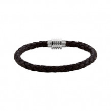 Stuller Stainless Steel & Dark Brown Braided Leather Bracelet with Magnetic Clasp - LEG050-304-P