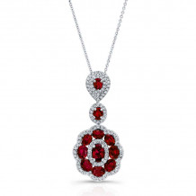 Kattan 18k White Gold High Quality Color Gemstone Necklace - APF05334