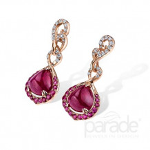 Parade Design 18k Rose Gold Ruby and Diamond Earrings - E3640