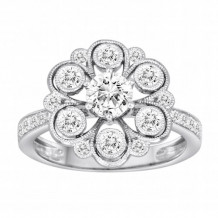 Diadori 18k White Gold Flower Diamond Engagement Ring - DFWR2253-RD1.0W