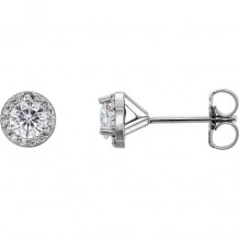 Stuller 14k White Gold Round Halo-Style Forever One Moissanite Earrings - 652490-60004-P