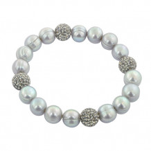 Honora Sterling Silver Grey Freshwater Cultured Pearl Bead Bracelet - LB5672GR