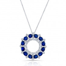 Kattan 18k White Gold High Quality Color Gemstone Necklace - LPF100993
