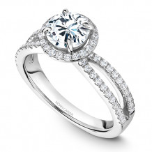 Noam Carver 14k White Gold Halo Diamond Engagement Ring - B235-02WM