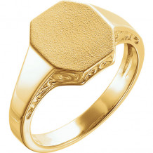 Stuller 14k Yellow Gold Men's Scroll Signet Ring - 9842-102-P