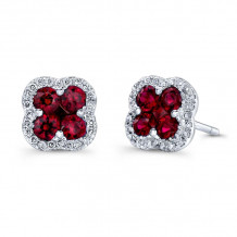 Kattan 18k White Gold High Quality Color Stud Earrings - AEF01264