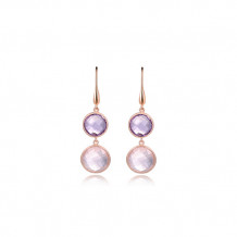 Elle Sterling Silver & 18k White Gold Amethyst and Rose Quartz Drop Earrings - PE005