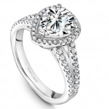Noam Carver 14k White Gold Halo Diamond Engagement Ring - B015-04WM