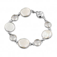 Honora Sterling Silver White Baroque Coin Freshwater Cultured Pearl Rock Crystal Bracelet - LB5695WH