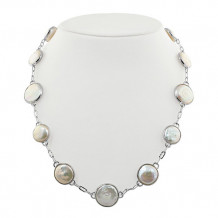 Honora Sterling Silver White Baroque Coin Freshwater Cultured Pearl Necklace - LN5691WH18