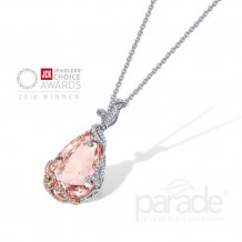 Parade Design 18k Two Tone Gold Morganite and Diamond Pendant - P3566