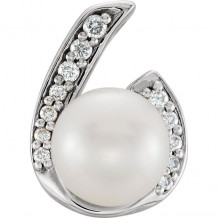 Stuller 14k White Gold Pearl and .07ct Diamond Pendant - 86574-600-P