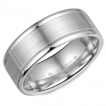 CrownRing 14k White Gold Classic 8mm Wedding Band - WB-7134SP